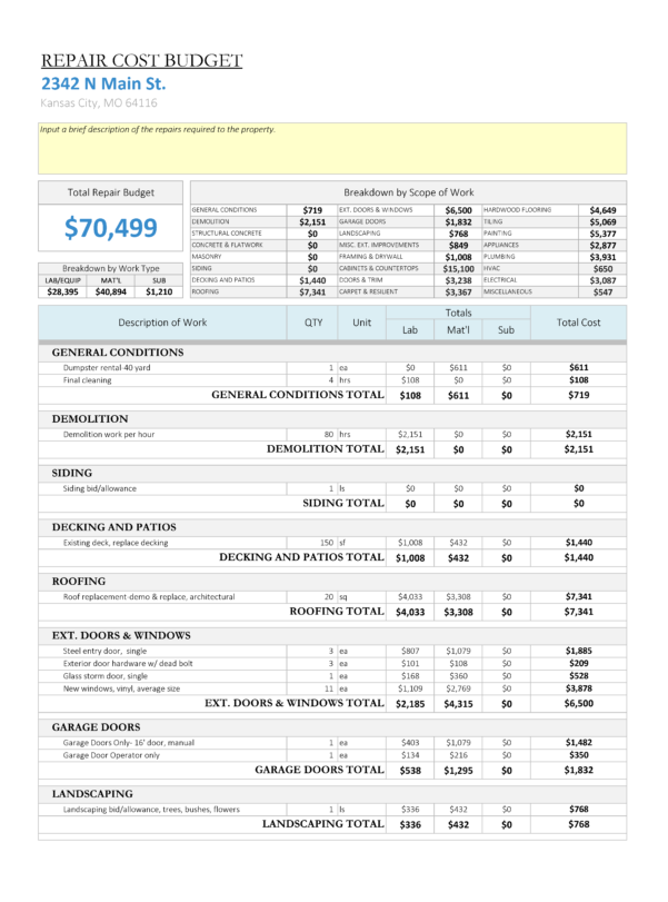 House Flipping Budget Spreadsheet Template Intended For House Flipping Spreadsheet  Rehabbing And House Flipping
