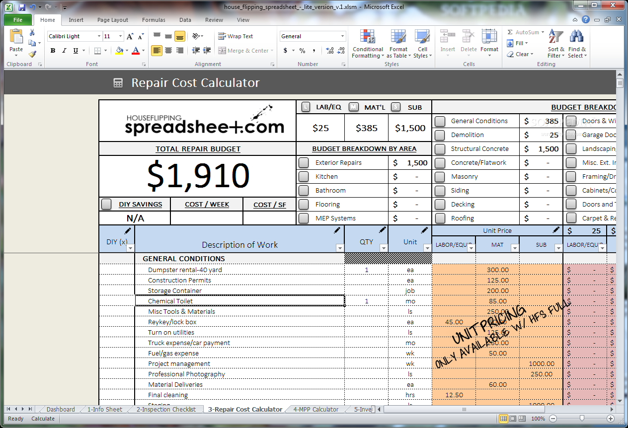 House Flipping Cost Spreadsheet For Download House Flipping Spreadsheet 1