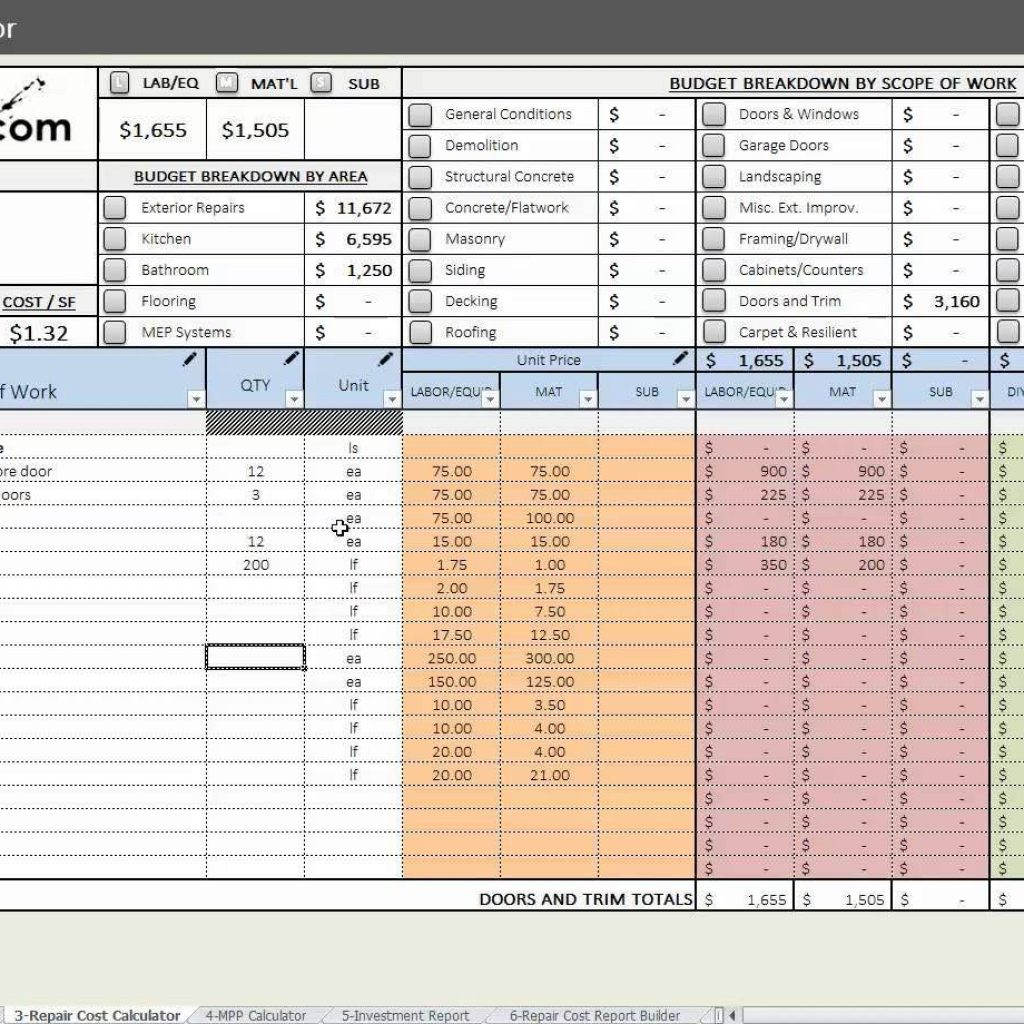 House Flipping Cost Spreadsheet Inside House Flipping Budget Spreadsheet Template And House Flip