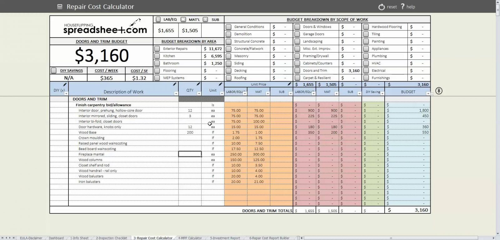 House Flipping Spreadsheet Template Regarding Housepping Spreadsheet Templateppingdsheet Fix Np Rehab Analyzer For