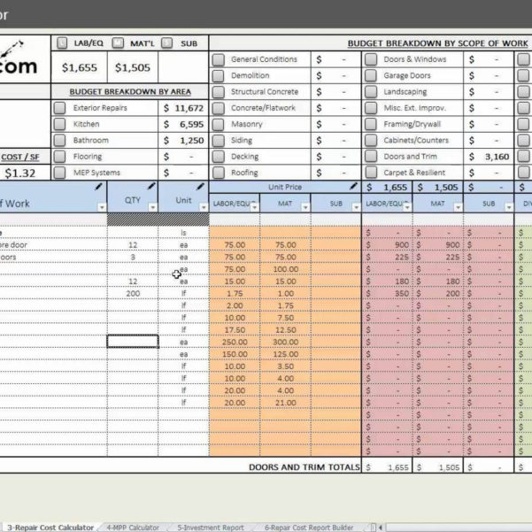 House Flipping Spreadsheet Xls Pertaining To House Flipping Budget Spreadsheet Template And House Flip