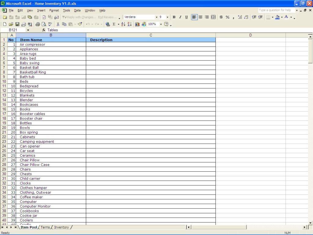 House Inventory Spreadsheet Regarding Household Inventory Spreadsheet Home Excel Templates Item Terms