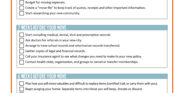 House Move Checklist Spreadsheet For 45 Great Moving Checklists [Checklist For Moving In / Out