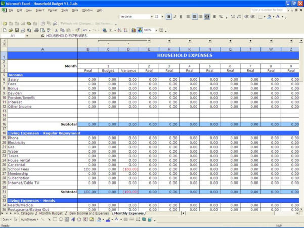 Household Bills Spreadsheet Template In Excel Templates Budget Monthly Household Bills Sample Personal