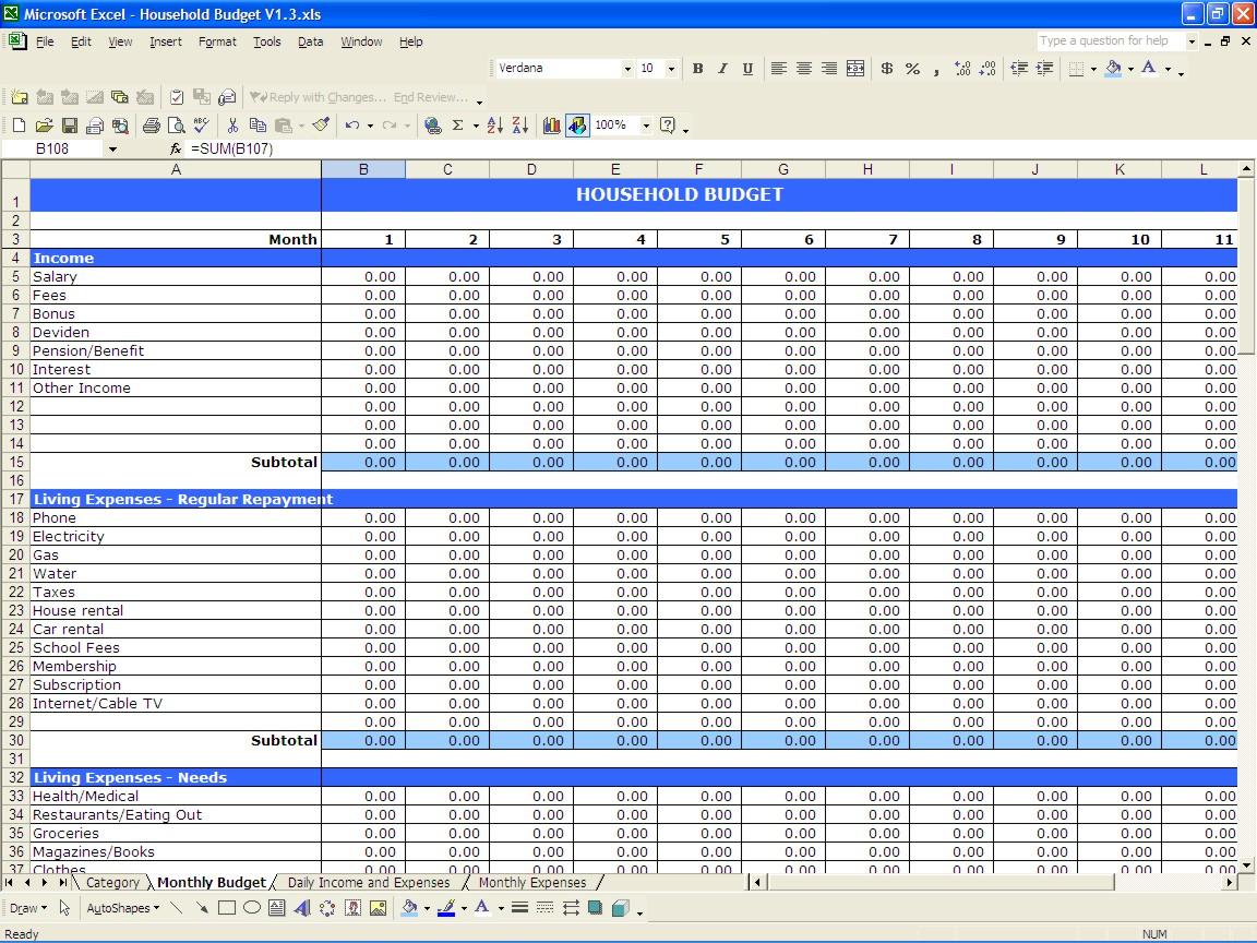 Household Budget Spreadsheet Excel Free Inside Daily Budget Spreadsheet  Alex.annafora.co
