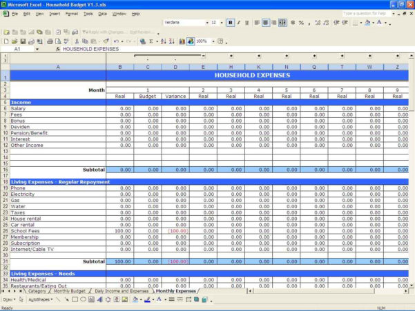 Household Budget Spreadsheet Excel Within Home Budget Spreadsheet Free Templates Downloadable Uk Planner Excel