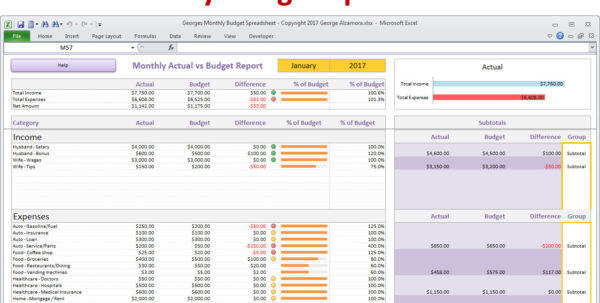 Household Budget Spreadsheet Regarding Monthly Budget Spreadsheet Planner Excel Home Budget For  Etsy