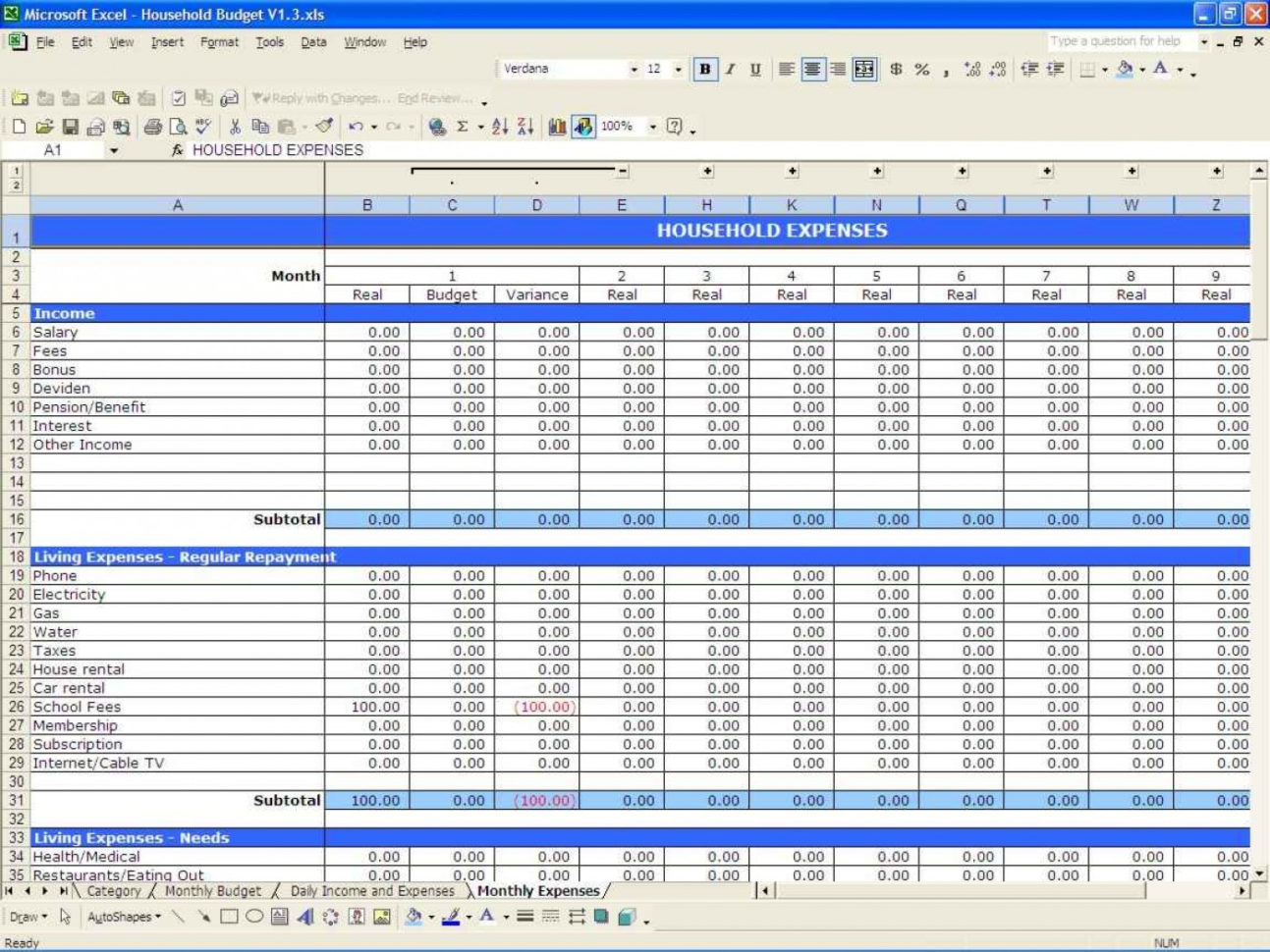 Household Budget Spreadsheet Template Within 011 Free Household Budget Templates Template Ideas Home Spreadsheet