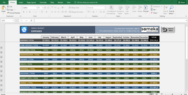 Household Expenditure Spreadsheet For Family Budget  Excel Budget Template For Household