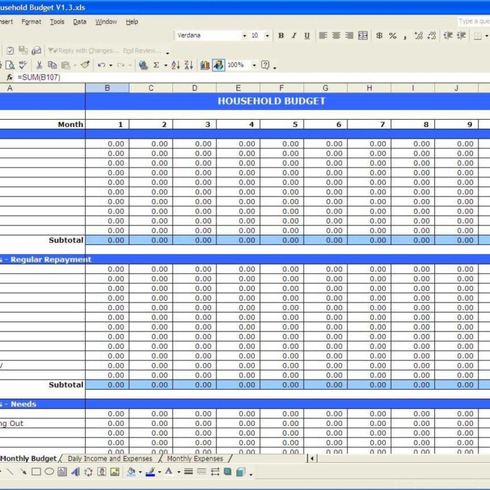 Household Expenditure Spreadsheet Regarding Household Budget  Excel Templates Inside Free Household Budget