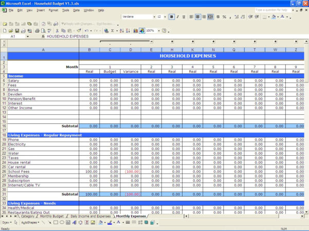 Household Expenses Spreadsheet Template With Regard To Sample Budget Sheet Excel  Rent.interpretomics.co