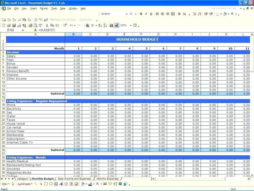 Household Finance Spreadsheet For Budget Worksheet Household Expense Template Family Expenses