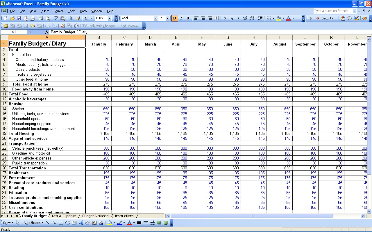 Household Finance Spreadsheet For Personal Expense Budget  Kasare.annafora.co