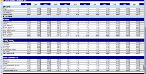 Household Monthly Expenses Spreadsheet For Monthly And Yearly Budget Spreadsheet Excel Template