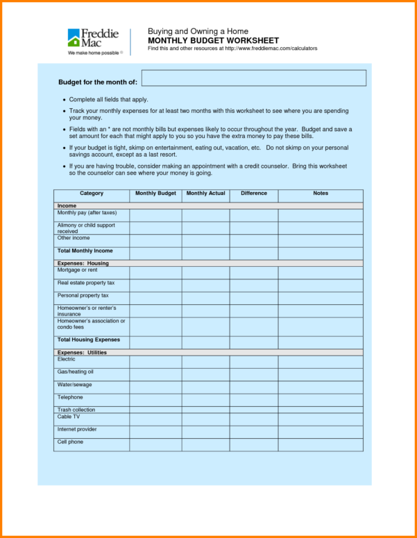 Household Spreadsheet With Regard To Monthly Spreadsheets Household Budgets And 7 Household Bud Worksheet