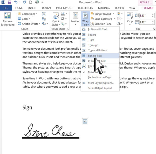 How Do I Add A Signature To An Excel Spreadsheet Within Sign A Word Document With Your Signature  Steve Chase Docs