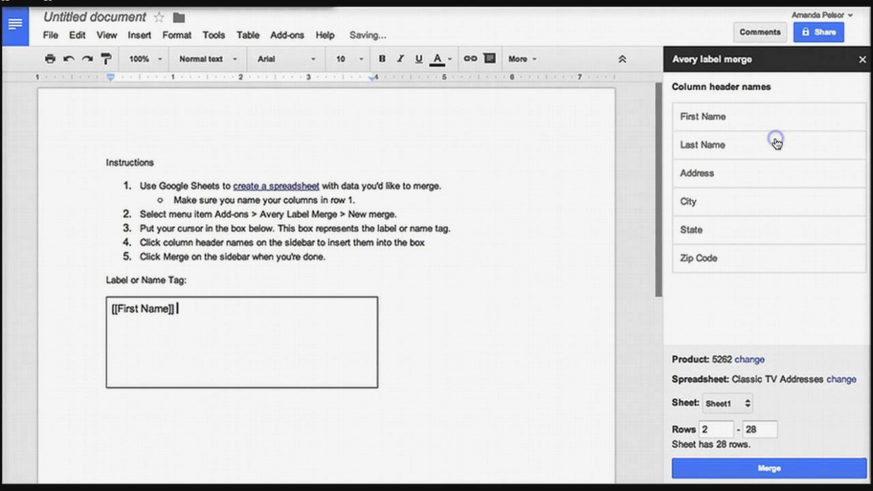 How Do I Print Address Labels From Google Spreadsheet For Creating Mailing Labels In Google Drive – Youtube – Google Docs