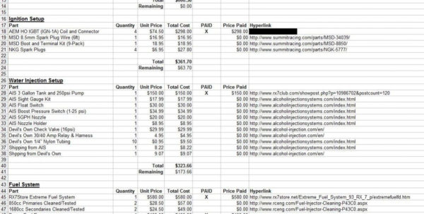 How To Build A Spreadsheet For Build Spreadsheet Template  Rx7Club  Mazda Rx7 Forum