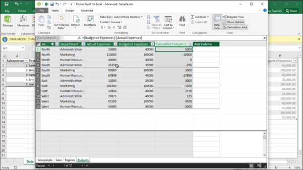 How To Build A Spreadsheet In Excel 2013 Intended For Create Calculated Columns In Power Pivot In Excel 2016