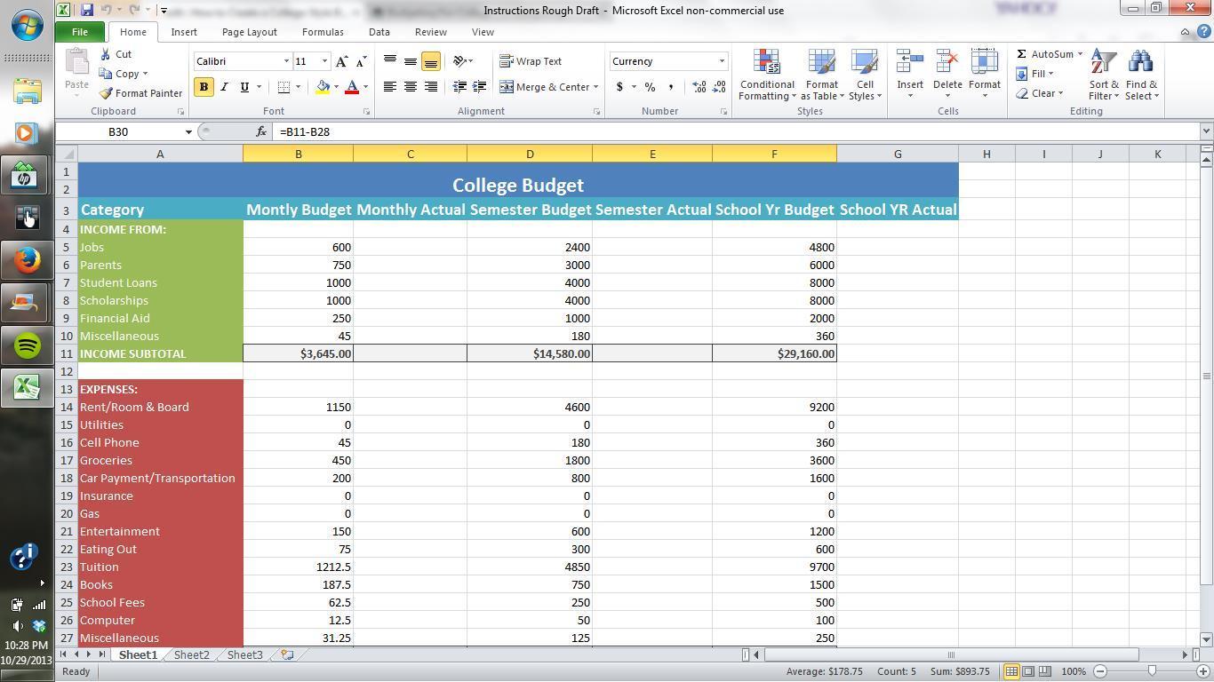 How To Build A Spreadsheet In Excel 2013 Regarding How To Make A Budget Spreadsheet On Budget Spreadsheet Excel Excel