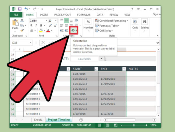 How To Build A Spreadsheet In Excel 2013 With 3 Ways To Create A Timeline In Excel  Wikihow