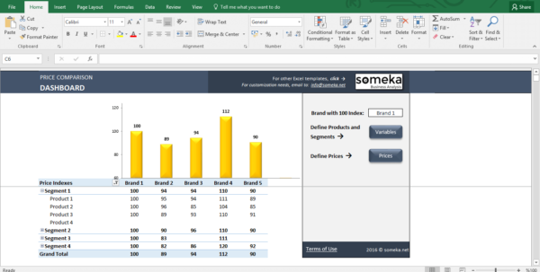 How To Compare Spreadsheets Inside Price Comparison And Analysis Excel Template For Small Business
