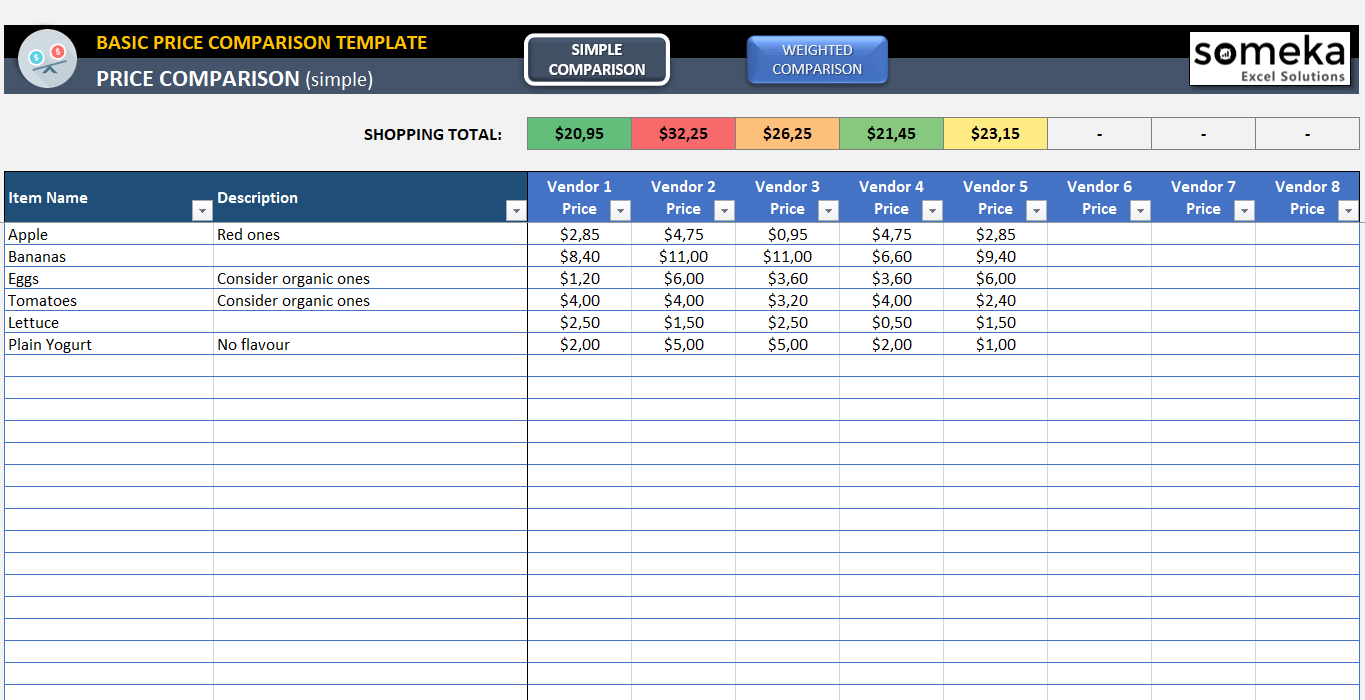 How To Compare Spreadsheets With Regard To Basic Price Comparison Template For Excel  Free Download