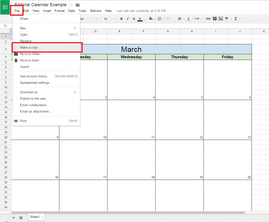 How To Create A Spreadsheet In Google Inside How To Create A Free Editorial Calendar Using Google Docs  Tutorial