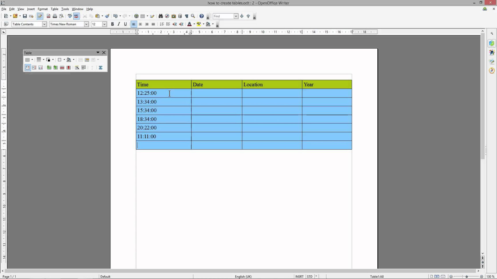 How To Create A Table In Openoffice Spreadsheet With Regard To How To Create Table In Openoffice Calc — Brad.ervadoce