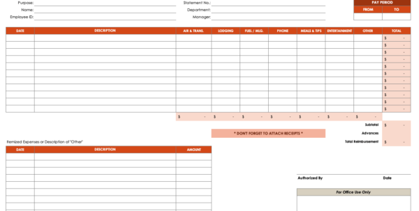 How To Create An Expense Spreadsheet In Excel Regarding Free Expense Report Templates Smartsheet