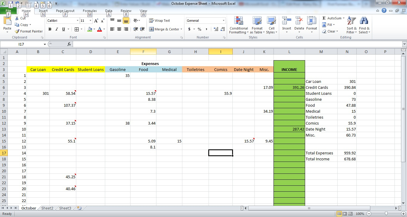 How To Create An Expense Spreadsheet In Excel Within How To Make An Expense Sheet In Excel  Rainy Day Saving