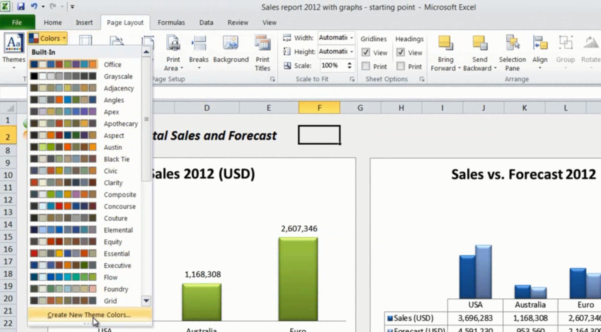 How To Do A Spreadsheet On Excel 2010 For How To Change Chart Colors In Microsoft Excel 2010