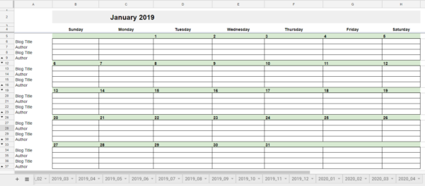 How To Make A Calendar In Google Spreadsheet Within Free 2019 Editorial Calendar In Google Sheets  Young Adult Money