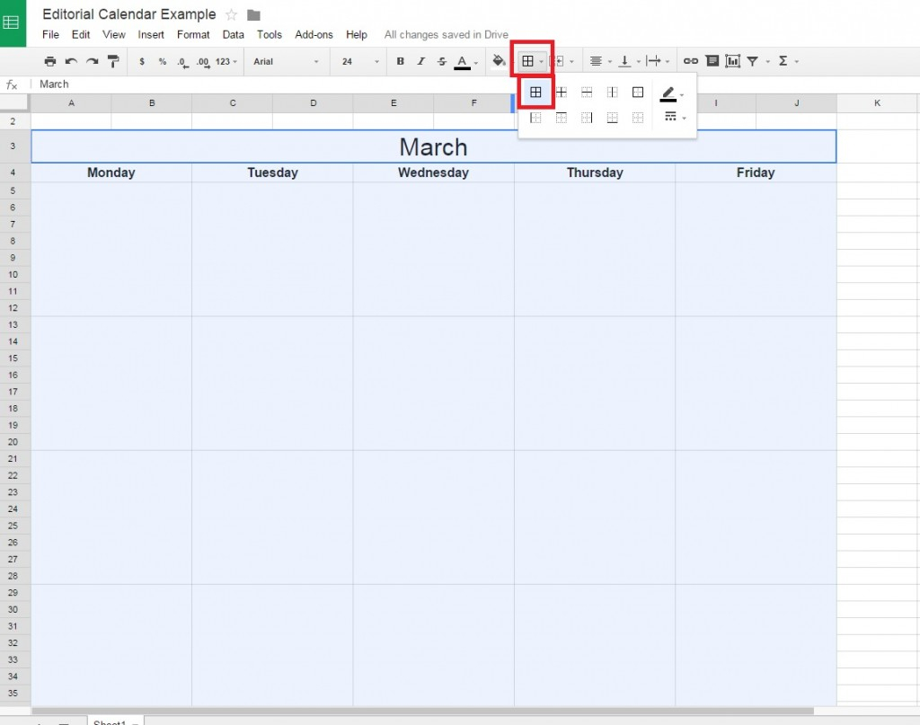 How To Make A Calendar In Google Spreadsheet Within How To Create A Free Editorial Calendar Using Google Docs  Tutorial