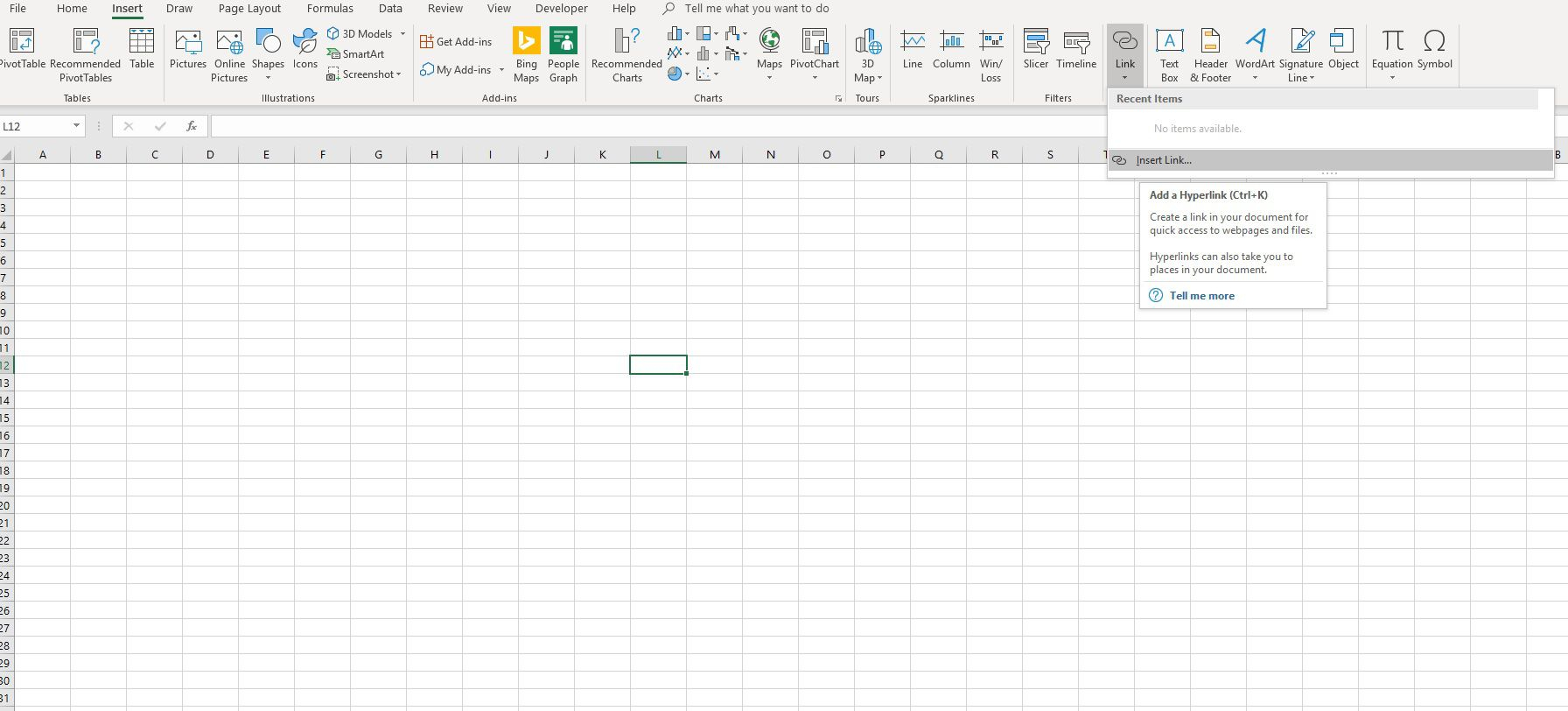 Excel 2020 insert forex link