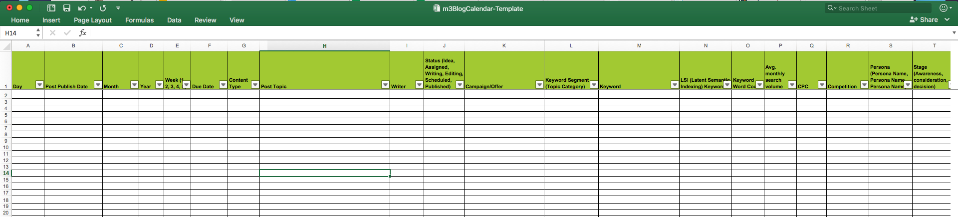 How To Make A Spreadsheet Look Good regarding Editorial Calendar Templates For Content Marketing: The Ultimate List
