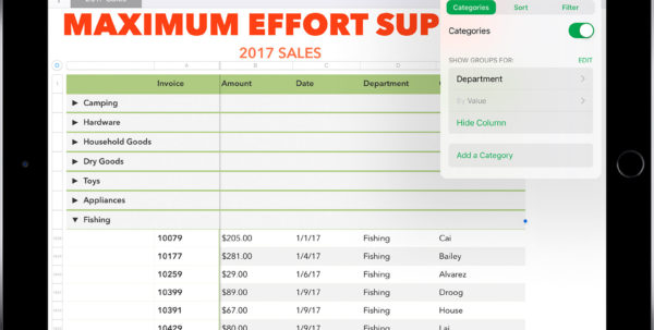 How To Make A Spreadsheet On Ipad In Use Smart Categories In Numbers  Apple Support