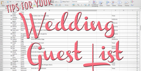 How To Make A Wedding List Spreadsheet In Tips For Making Your Wedding Guest List  The Yes Girls