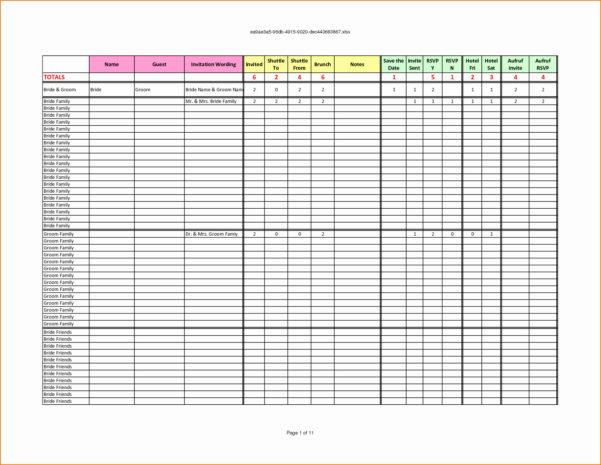 How To Make A Wedding List Spreadsheet Inside Wedding Guest List Spreadsheet Template Simple Spreadsheet Templates