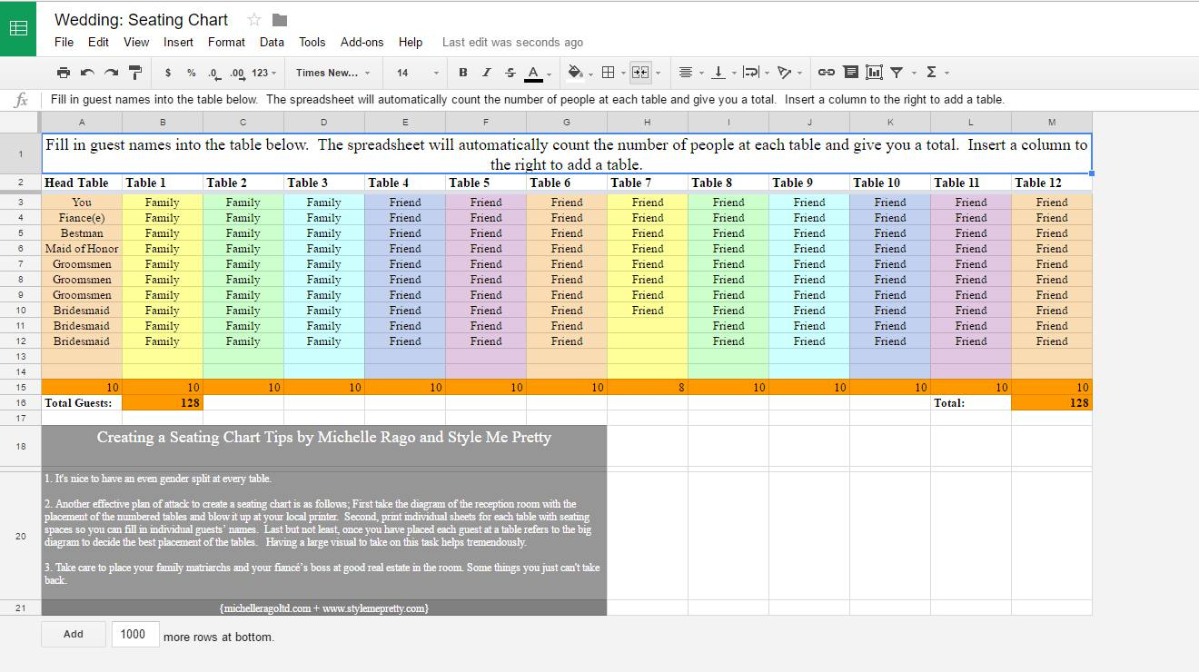 How To Make A Wedding List Spreadsheet Pertaining To 6 Free Wedding Seating Chart Templates