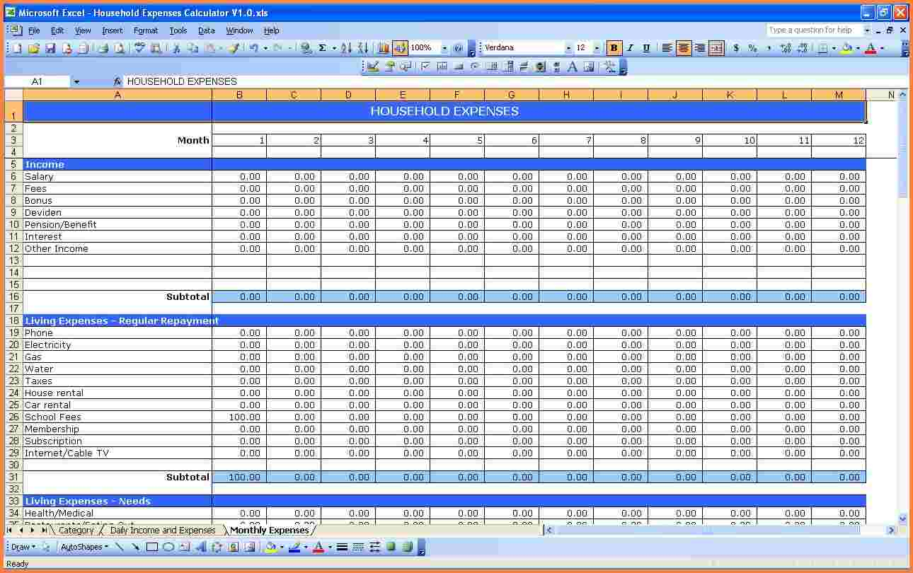 How To Make An Excel Spreadsheet For Monthly Expenses ...