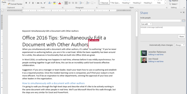 How To Make An Excel Spreadsheet Shared 2016 Inside Office 2016 Tips: Simultaneously Edit A Document With Other Authors