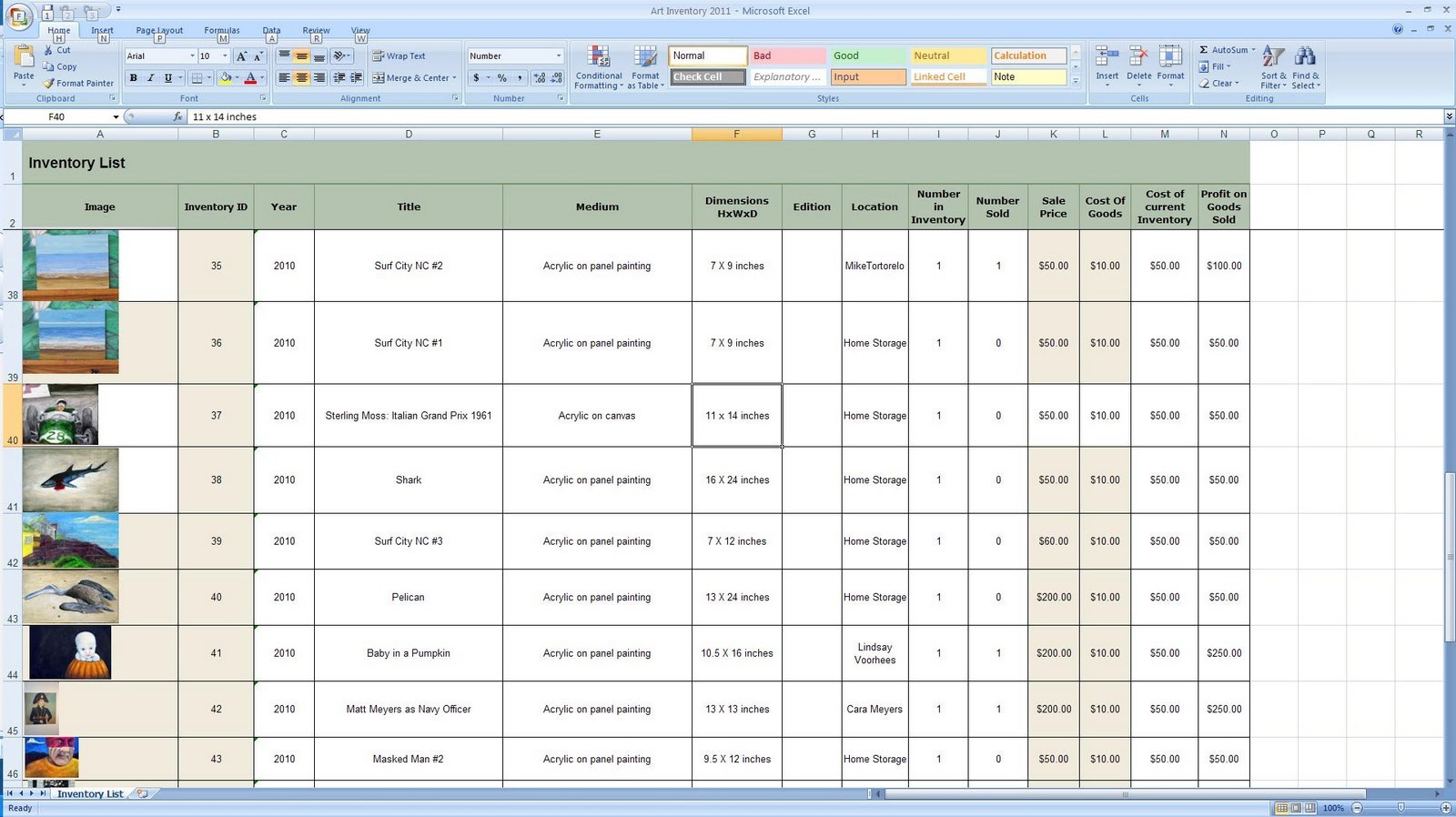 How To Make An Inventory Spreadsheet On Excel Inside Doug Steward Fine Art Business Day Creating Inventory Spreadsheet