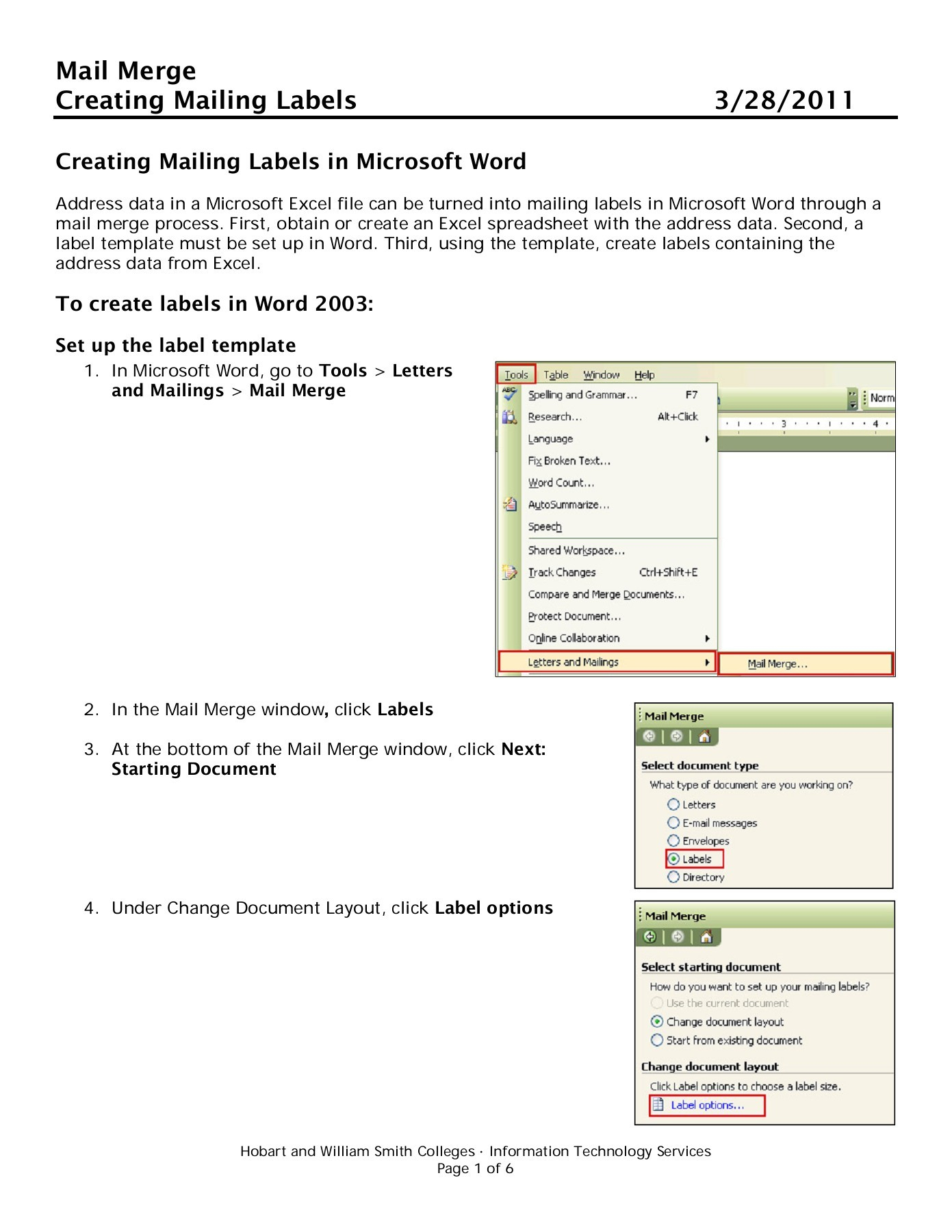 How To Make Mailing Labels From Excel Spreadsheet Intended For Mail Merge Creating Mailing Labels 3/28/ 2011 Pages 1  6  Text