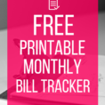 How To Organize Your Finances Spreadsheet Within Free Printable Bill Tracker: Manage Your Monthly Expenses