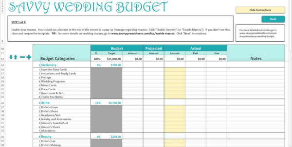 How To Set Up A Budget Spreadsheet Inside How To Use The Savvy Wedding Budget  Savvy Spreadsheets