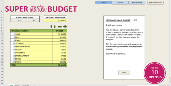 How To Set Up A Budget Spreadsheet Regarding Free Budget Template For Excel  Savvy Spreadsheets