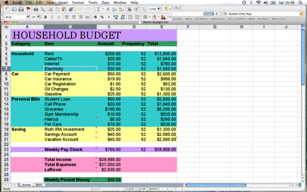 How To Set Up A Spreadsheet For Household Budget Pertaining To Setup A Spreadsheet For Household Budget As Excel Compare