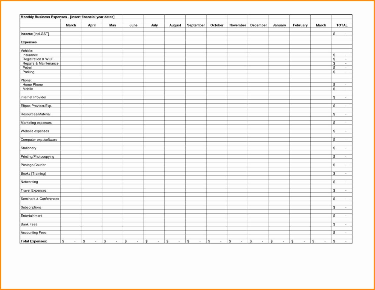 How To Set Up Spreadsheet For Expenses In Excel Spreadsheet For Business Expenses Template Income And Small