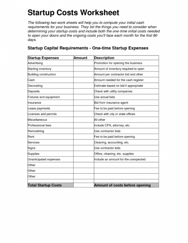 How To Set Up Spreadsheet For Expenses With 001 Business Start Up Costs Template Resume Lesson Plan Lovely How